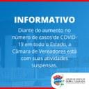 Câmara tem atividades suspensas até dia 10 de março
